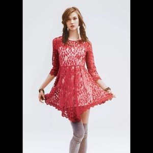 NWT Free People Hot Red Floral Lace Dress 2